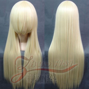 cosplay wig fox X servant SS / snow trail brier small grumble / pale gold long straight hair