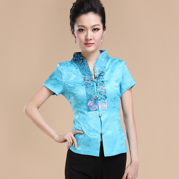 National style embroidery, self-cultivation, Chinese mothers improved Chinese style Tang style womens short sleeve top, summer tea work clothes