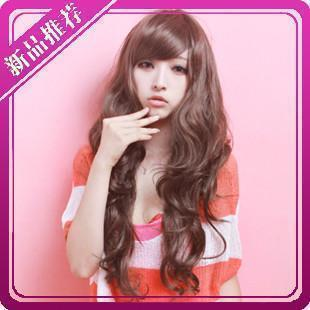 Long curly hair oblique bangs fluffy chestnut hair color silver hot new blond wig black wire