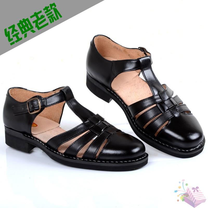 牛皮中老年夏季男士凉鞋真皮手工上线轮胎底 老三条皮凉鞋 爸爸鞋