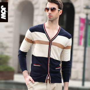 JOW Jovovich thin models 2015 Autumn men s v neck striped cardigan sweater cardigan sweater spell color