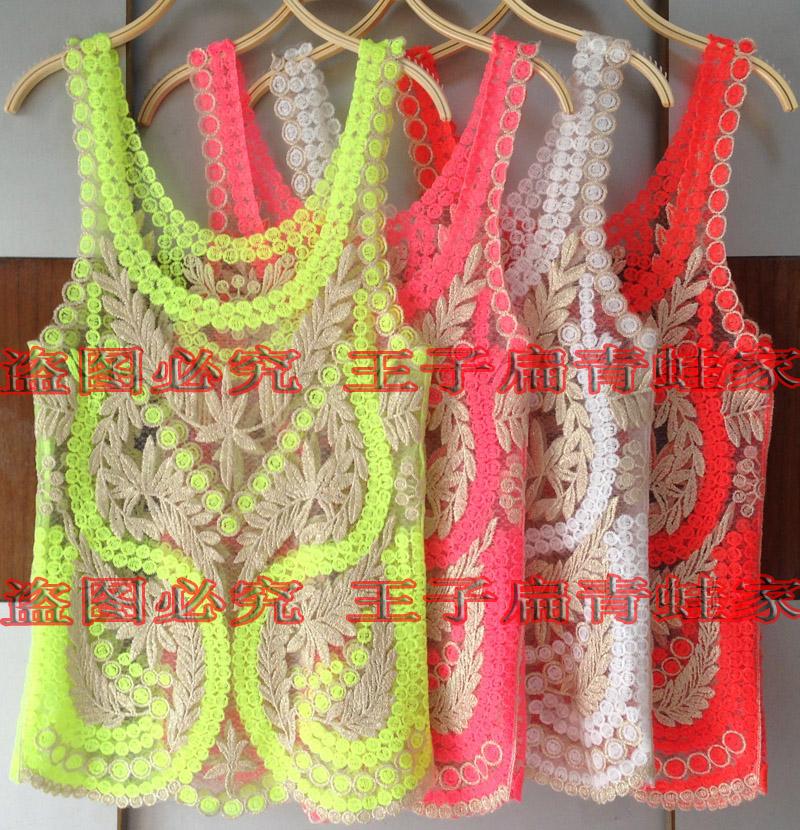 Крючком кружева рубашки цветочные блузку вне воротом жилет платье выдалбливают нижняя рубашка сетка вышитые блузки, без рукавов