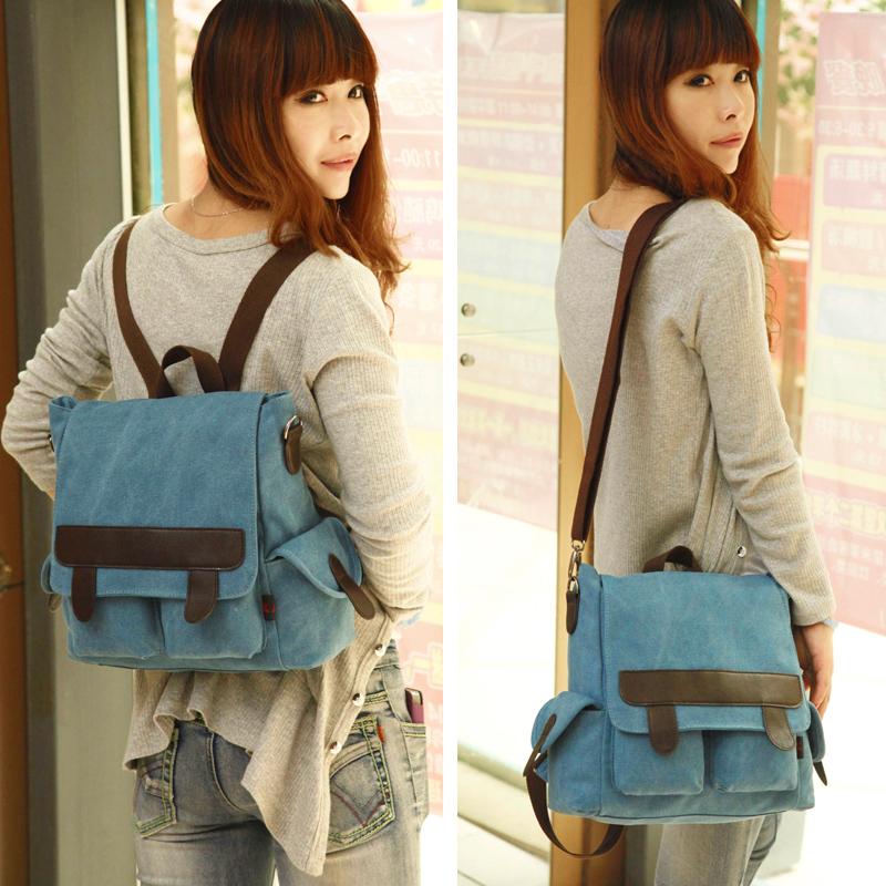 Новый холст ранец рюкзак многофункциональный мешок женский Корейский путешествия Диагональ студентов baodan плечо Сумки