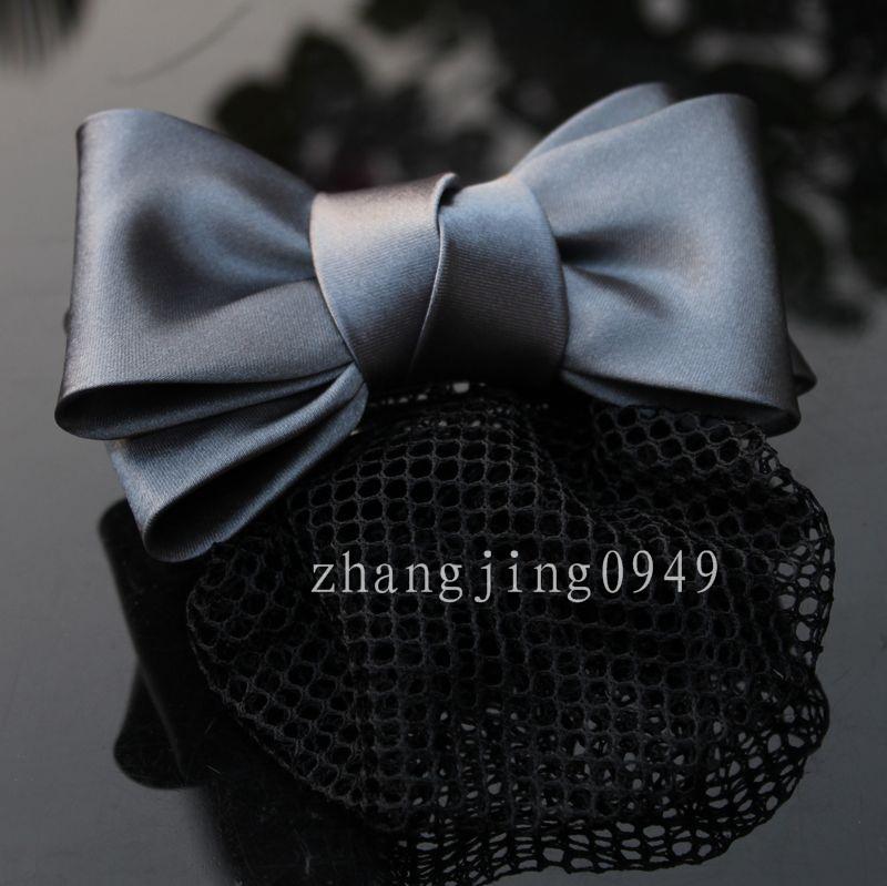 New style nurse Hotel bank office professional headdress silver gray double layer Butterfly Hair Net flower net pocket hairpin