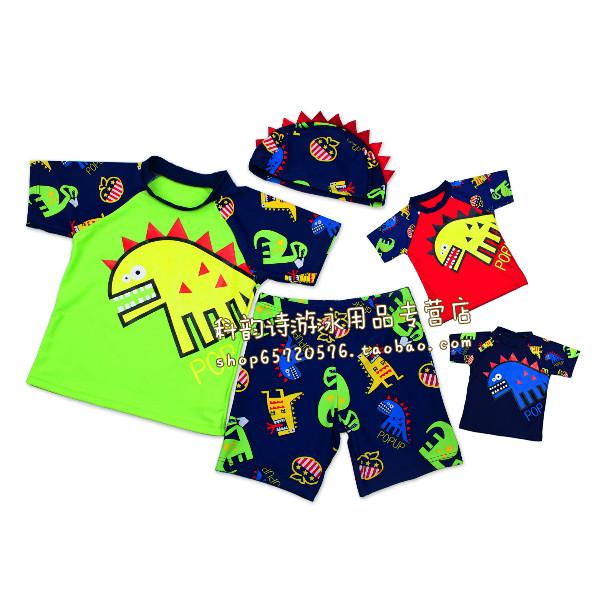 Костюмы супер милый динозавр детей дети мальчиков детские Купальники Сплит Купальники Купальник Sun Hoodie