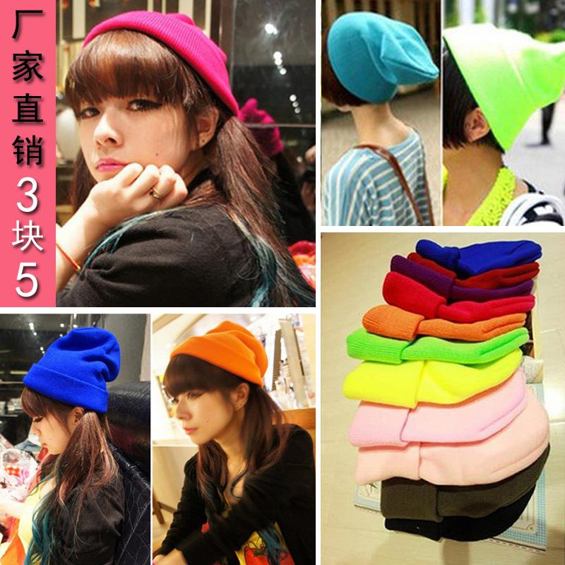 Корейская версия GD Quan Zhilong осенью и зимой вязать шляпы для мужчин и женщин диких конфеты цветные флуоресцентные шляпы шерсти крышка