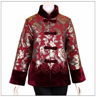 Miss Tang Zhuang padded middle aged mother dress women s clothing Chinese style jacket fall and winter clothes padded jacket coat