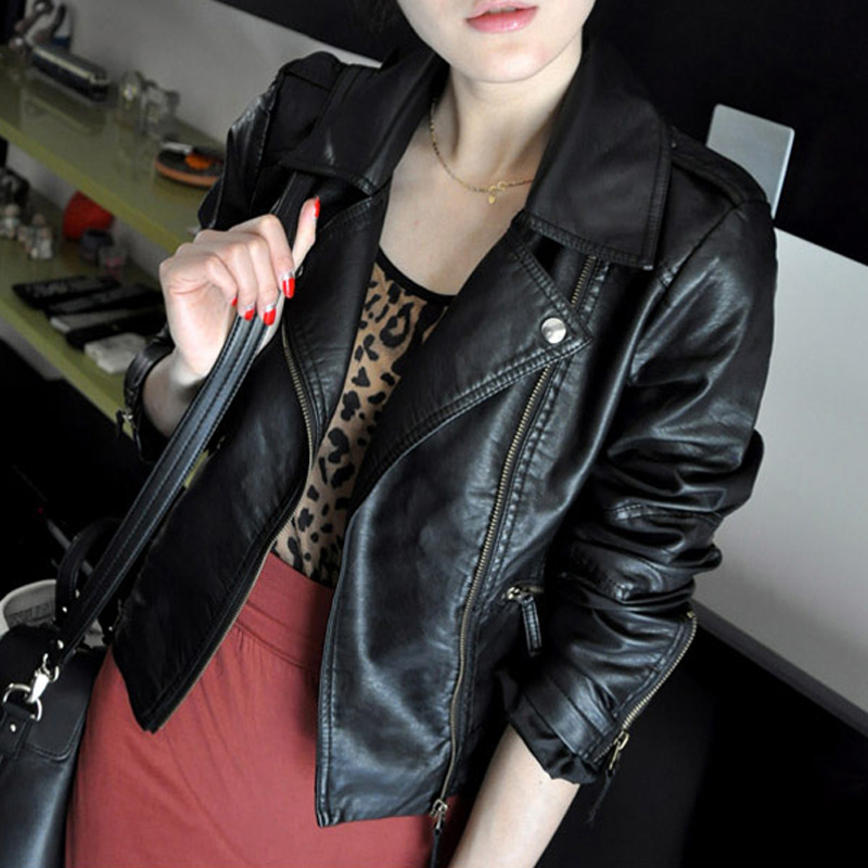 Spring and autumn 2020 Korean leather dress womens short Pu Motorcycle Jacket Large Size Womens slim top suit small coat