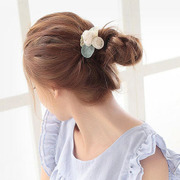 Know Richie Korean hair accessories handmade tiara of lace button hair ponytail hair rope end of rose flower hair band