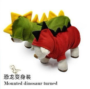 Cheap small dog clothes fall and winter clothes turned installed mounted dinosaur warm Teddy pet clothing cute cotton