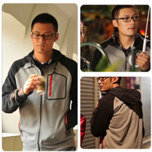 More than 2015 shawn yue han edition red zipper guard coat pocket recreational unlined upper garment of men's clothing coat winter clothing Lin curved