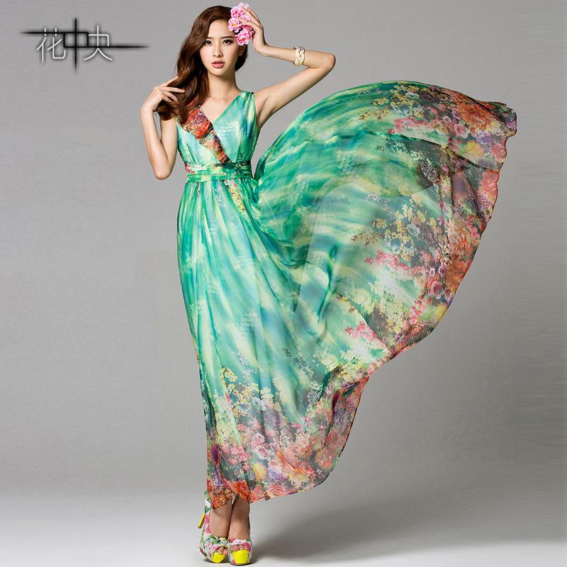 花中央春夏新款 波西米亚长裙V领高腰红花拼接雪纺连衣裙