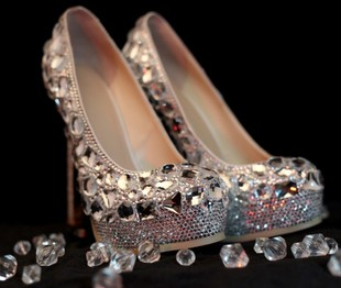 Pure handmade custom gemstone crystal diamond high with waterproof suede shoes nightclub married bridal shoes