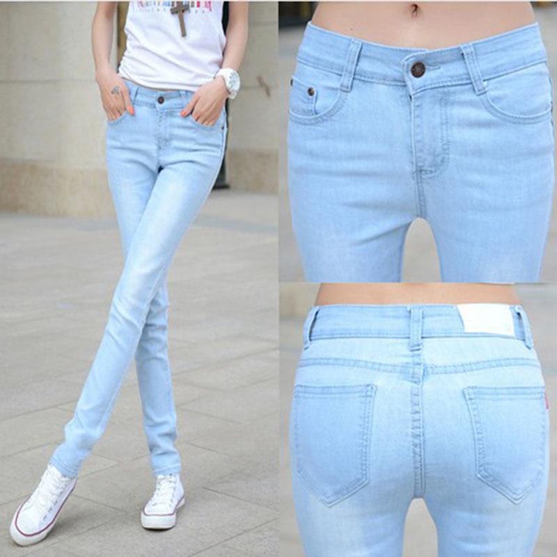 Весной и летом высокой талией джинсы дамы новый 2016 упругие Корейский себя тонкий свет ноги длинные брюки бум