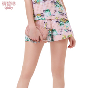 Fine bi Lynn spring/summer 2015 Joker for new ladies European mosaic lattice printing slimmer straight hot pants