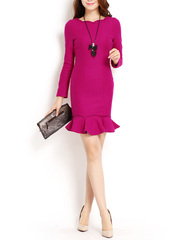 Looking back at her in 2015 ~ brand new 37 micro-stretch wool dresses, new year evening party mini dress