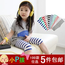 Female children's wear leggings south Korean children summer must-have stripe 7 minutes of pants joker baby pants short girl