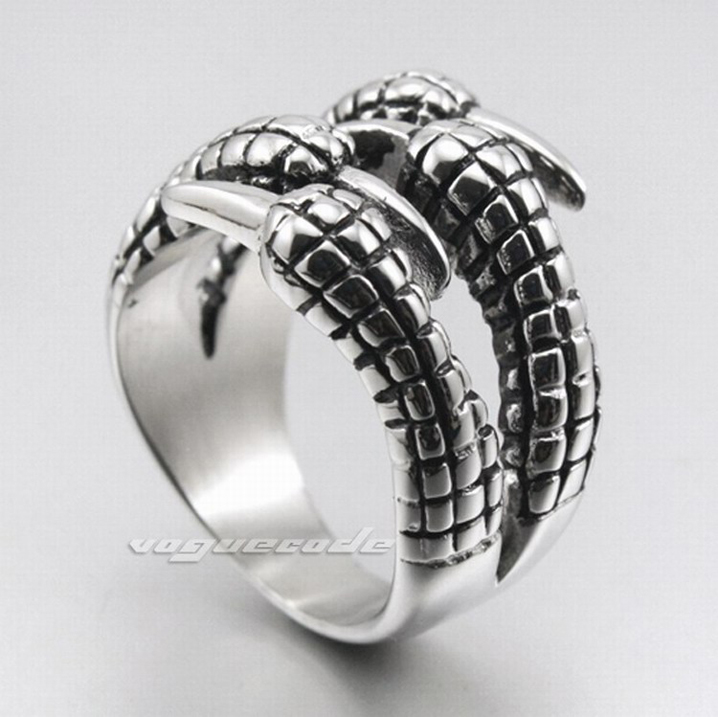 Rock group fashion mens 316L stainless steel ring cool silver dragon claw titanium steel ring mens steel decoration