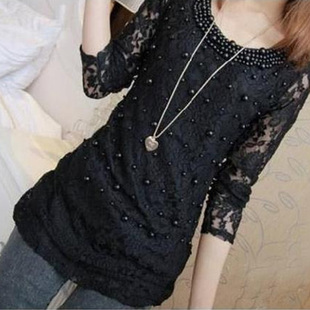 2014 large size women fat mm spring new Korean version of the influx of early spring beaded lace long sleeved T shirt bottoming shirt