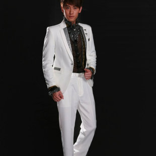 2015 new costumes tuxedo white sequined suits Korean host Singers Clothing