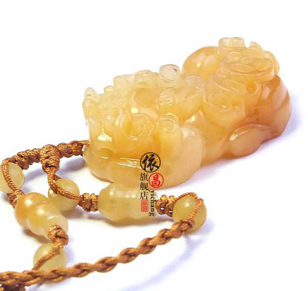 依昌 天然老黃玉貔貅吊墜 精美雕刻項墜男女飾品 黃龍玉掛墜