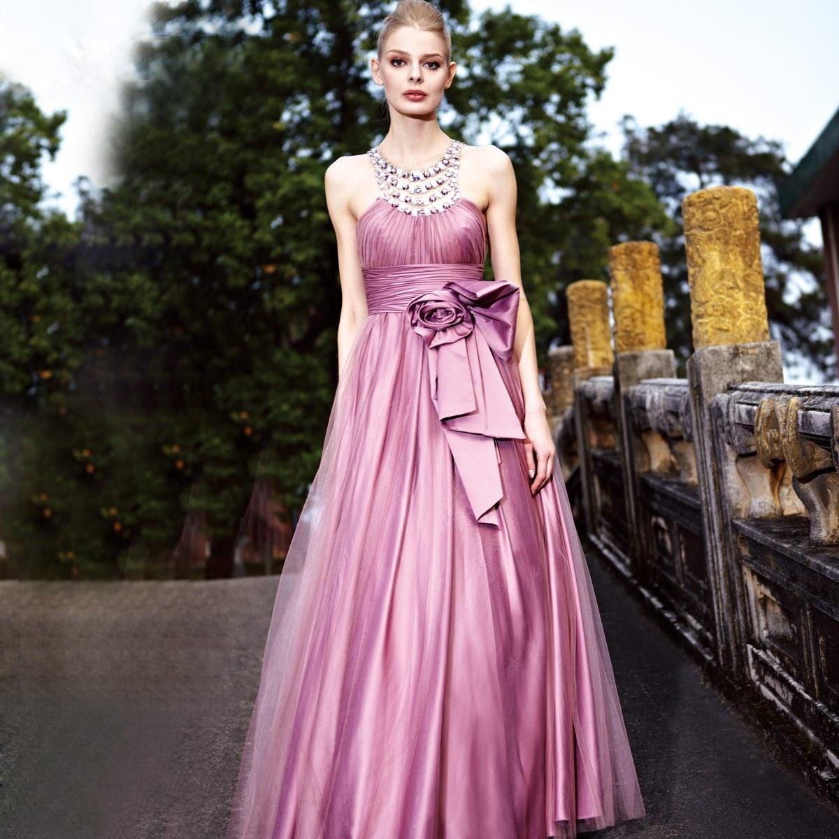 创意狐2012新款 新娘敬酒挂脖礼服 紫色晚宴装 欧式热卖爆款80191