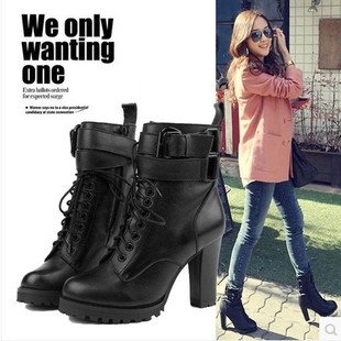 The new spring and autumn and ankle boots with thick leather motorcycle waterproof shoes high heeled short boots Martin boots shoes