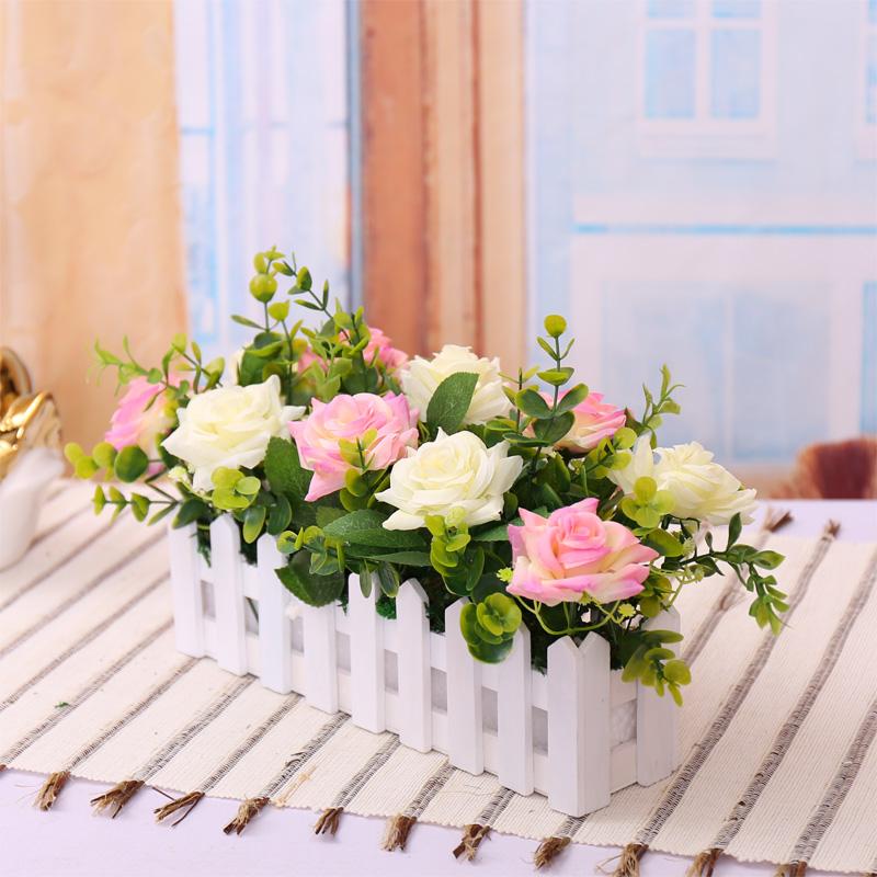 Деревянный забор роза цветок корсаж цветок искусственный цветок набор 30 см забор гостиной пол декора цветочный горшок