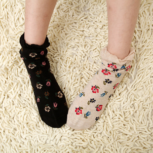 Japan cotton socks new spring flowers Duoluo Li wood ear socks lovely lady