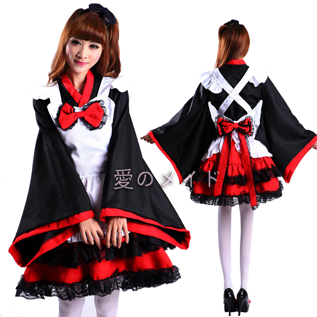 Горничные furisode кимоно одежда дамы ведьма КОСПЛЕЙ горничной платье luoluolita и ветровой нагрузки МО