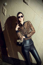 Europe and the United States favors the wild snow leopard grain long sleeve blouse Retro chiffon shirt