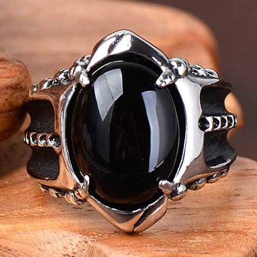 Fashion trend agate retro personality punk ring accessories Gothic Ring non mainstream rock titanium steel ring