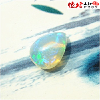 Natural opal stone ring face opal water drop shape