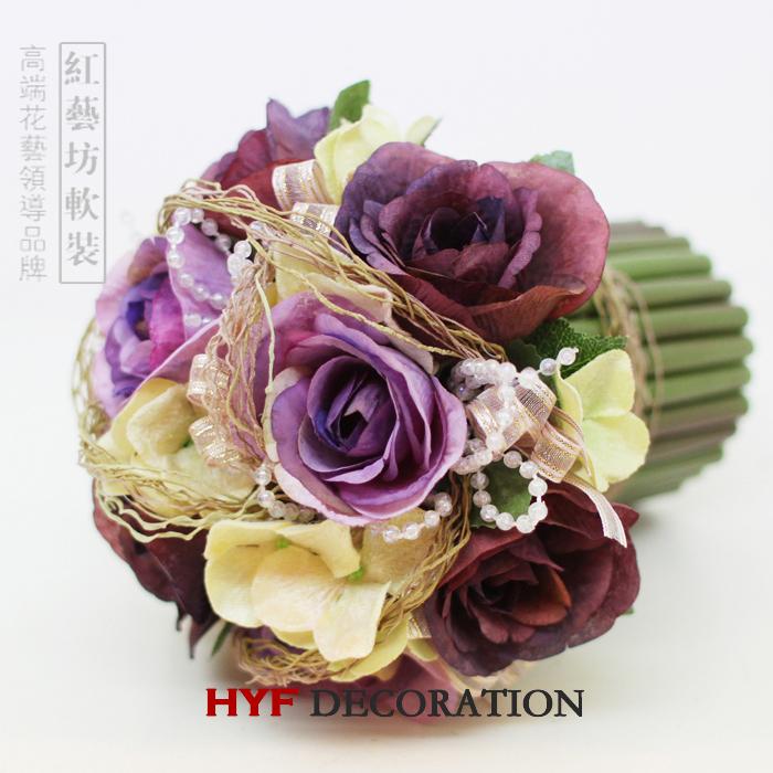 Тайвань высокого моделирования цветок набор фиолетовый гортензии Роза прекрасный обеденной Ресторан оборудование стол цветочные шелковые цветы искусственные цветы
