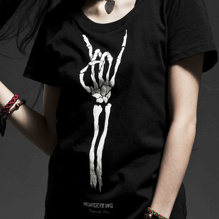 MSK 10 Midi Music Festival t shirt sign of the horns gesture skull t shirt female short sleeved t shirt spring and summer