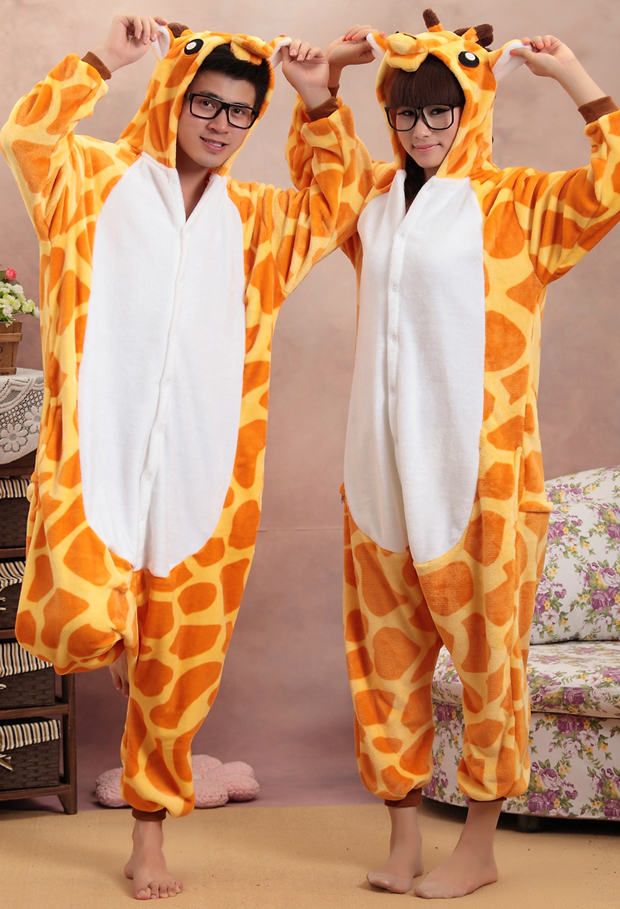 Взрослый цельный пижамы мультфильм туалет фланелевой одежды в зимний родитель ребенок монтируется жираф производительности одежда для почты