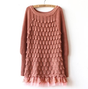 2017 spring Korean fish scale texture pattern water drop banana little finger lace bottom knitted sweater womens coat