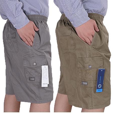中老年男士夏季加肥加大码宽松休闲短裤中年肥佬纯棉5分裤薄款爸