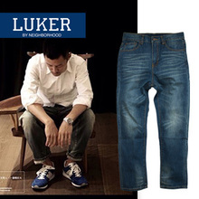 Qiu dong season, Mr Chen demonstration popular logo NBHD CMSS loose primary straight men's denim pants