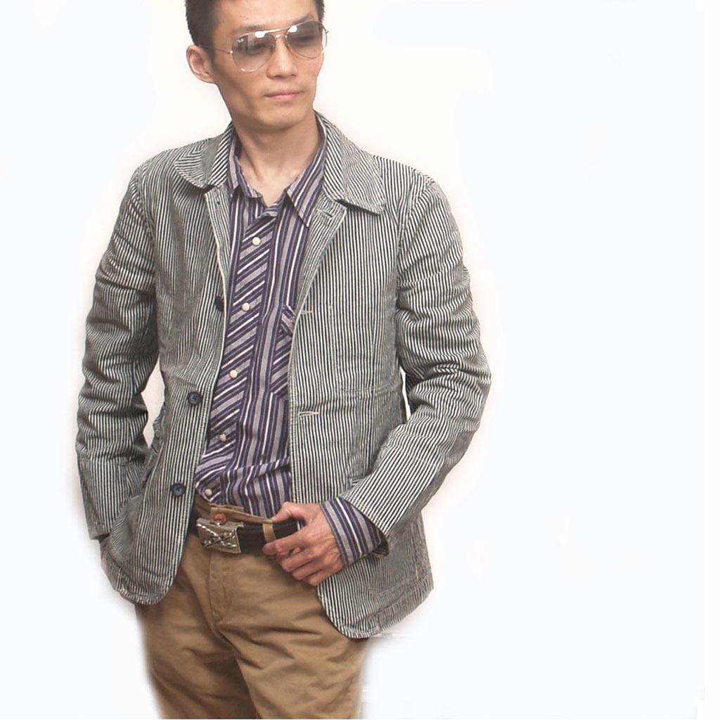 美国男式英伦风经典细条纹个性日韩版潮人时尚修身休闲西装外套
