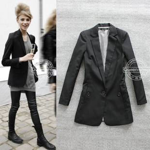 Spring New England style handsome boyfriend casual female long paragraph Slim suit women suit jacket black
