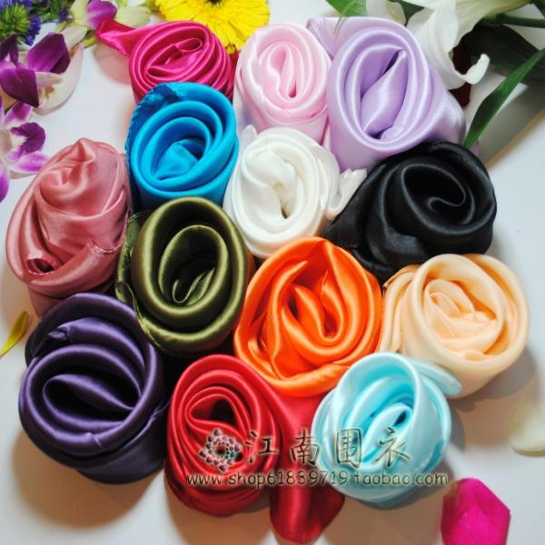 HRMS / 100% Silk Scarf / single color handkerchief / plain crepe satin thickened solid small square scarf multi color