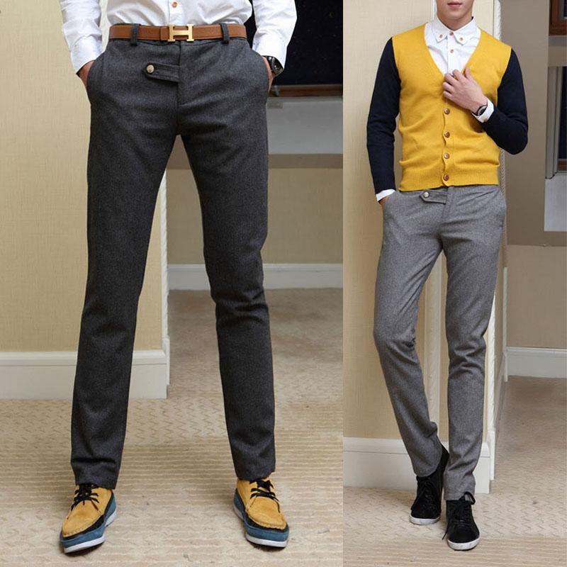 New Korean version of mens pants thickened warm wool fabric slim casual pants mens large pants trend