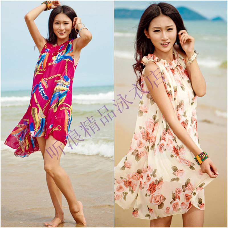 Богемной солнцезащитный крем пляж праздник платье юбки юбки платье Сарафаны для базы свободные халате летнее платье