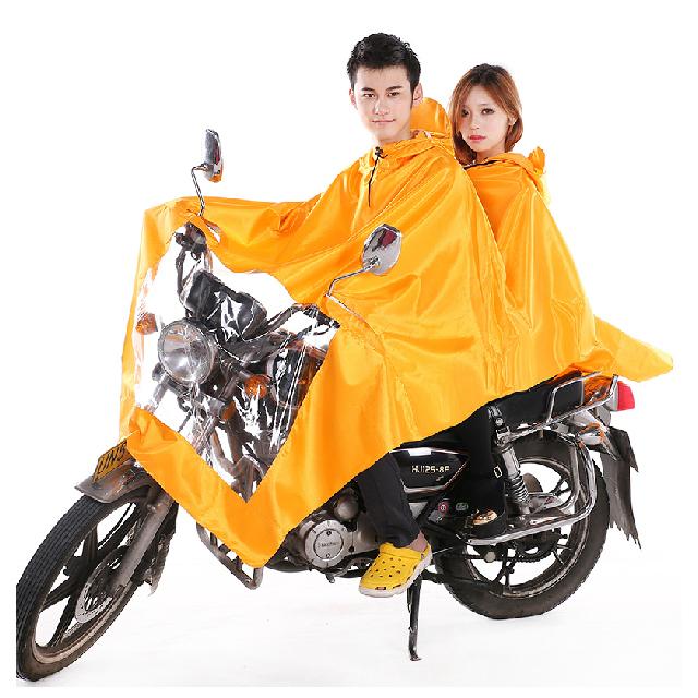 非洲豹大帽檐牛津面料双人摩托车雨衣电动车加厚加大男女雨披包邮