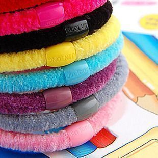 Korean Hot wild candy colored high elasticity domesticated hen hair circle rope Tousheng