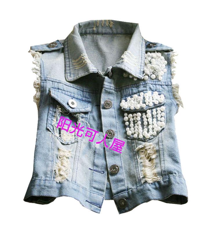 Джинсовый жилет женщин весна/лето мода жемчужина отверстие в легкой джинсовой ткани куртка Джокер джинсы короткий жилет жилет