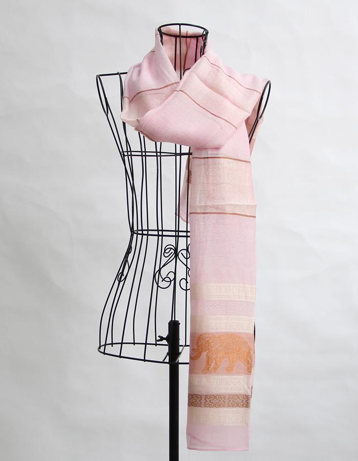 柬埔寨进口古法手工纺织真丝巾 围巾长披肩大象图案