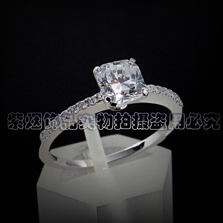 Square diamond one carat diamond ring zircon ring SILVER RING 925 Sterling Silver women silver micro set ring