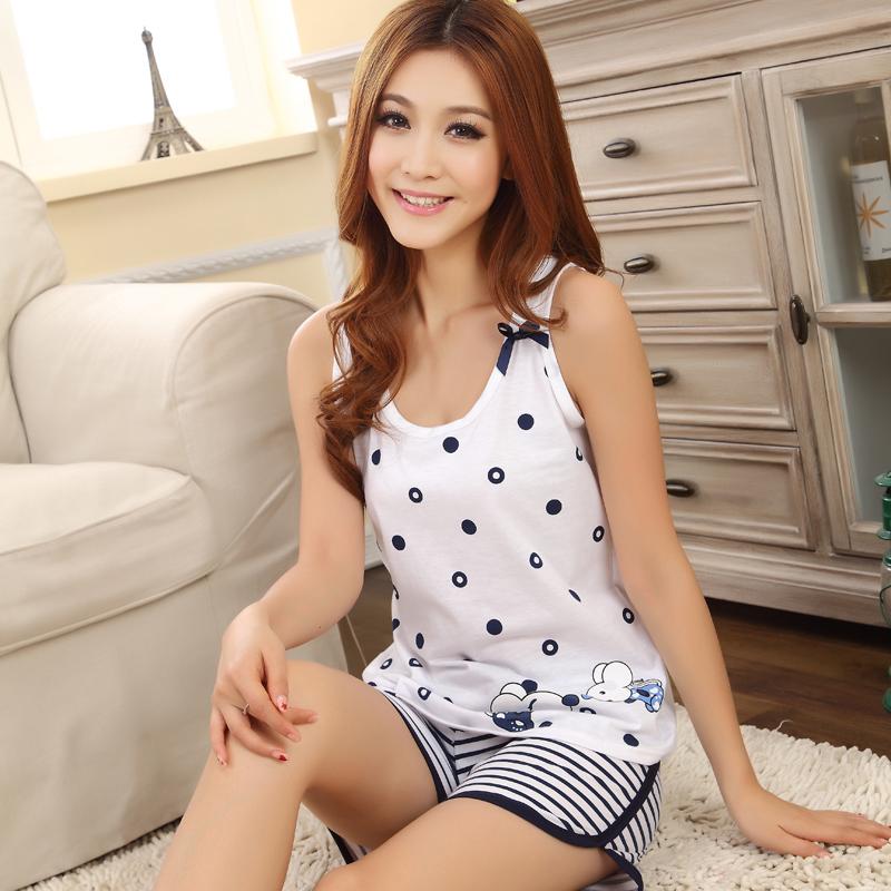 Ремень пижама летняя шорты летом рукавов хлопок плюс размер жилет костюм дома носить тонкие летом девушка пижамы